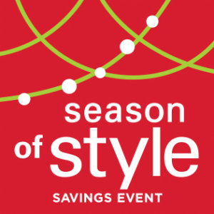 red block with holiday decorations and the text season of style savings event