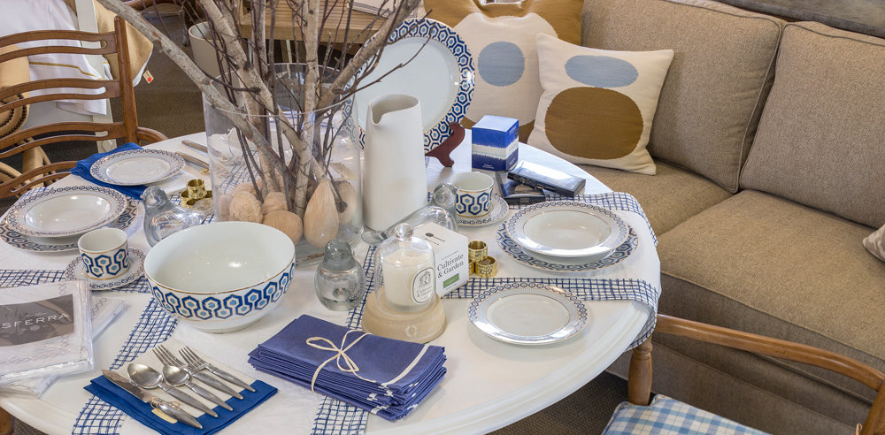 blue accent colored table setting, view from above